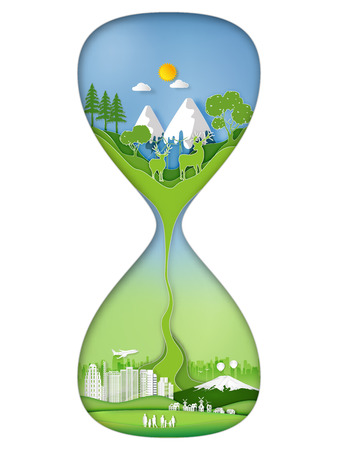 Paper art , cut and craft style Rate of green environmental , natural enviroment and city urban life in a sand hourglass concept. vector illustration.