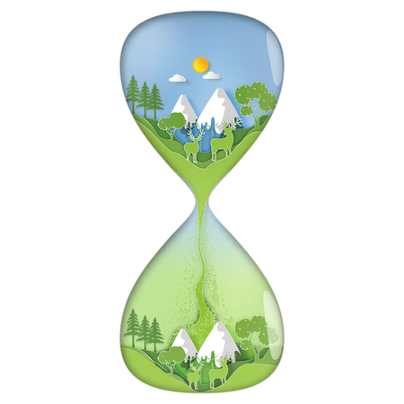 Paper art , cut and craft style Rate of green environmental , natural enviroment in a sand hourglass as Eco and nature concept. vector illustration.