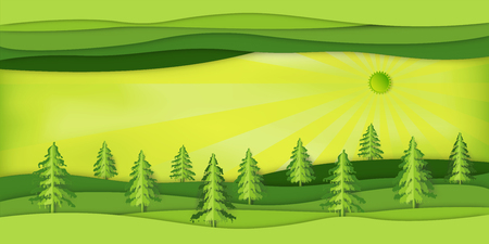 Paper art , cut and craft style of Green abstract nature landscape with origami layer background as ecology and environment conservation concept. Vector illustration.