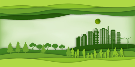 Paper art , cut and craft style of green eco urban city with people and nature cityscape background as Ecology design and environment conservation creative idea concept. Vector illustration. Stok Fotoğraf - 126623301