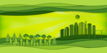Paper art , cut and craft style of green eco urban city with people and nature cityscape background as Ecology design and environment conservation creative idea concept. Vector illustration. Stok Fotoğraf - 126623302