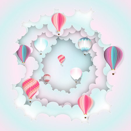 Paper art , cut and craft style of Hot air balloons on the pastel sky background as business and transportation concept. vector illustration. Stok Fotoğraf - 126623305