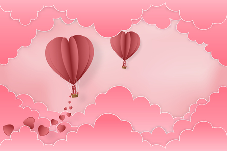 Paper art , cut and digital craft style of the lover in hot air balloons on pink sky and clouds background as love , wedding and valentine day concept. vector illustration