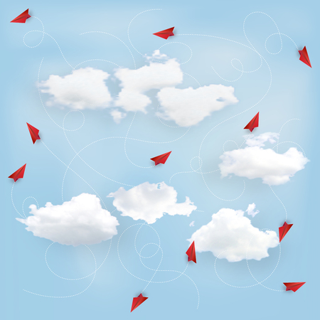 Business success design of Leadership concept, standing out from the crowd of paper airplane as target , startup , creative idea and communication concept. vector illustration Ilustração