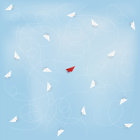 Business success design of Leadership concept, standing out from the crowd of traffic paper airplane as target , startup , creative idea and communication concept. vector illustration