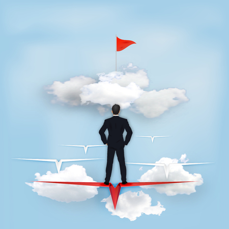Business success design of Leader Businessman on Paper airplane as goal , creative idea and communication concept. vector illustration Ilustração