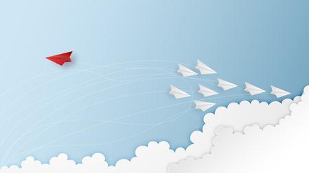 Geschäftserfolgsdesign von Papierflugzeugführern finden einen Ausweg, um Probleme, kreative Ideen und Kommunikationskonzepte zu lösen. Vektor-Illustration