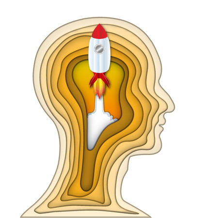Paper art and carve cut layer of human head and rocket launch startup in the brain as business, science,intelligence idea, art and craft style concept. vector illustration. Ilustração
