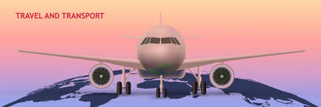 Front view of Civil Aircraft standing on the chassis  isolated on pastel background. Public or private plane as business and travel design concept. Vector Illustration. Çizim