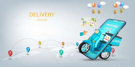 Fast delivery by scooter on mobile. E-commerce online concept or Mobile Application Vector Concept Marketing and Digital marketing, Online Application Delivery service concept.