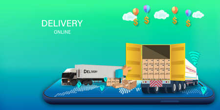 Logistics Online delivery service, online order tracking,Delivery home and office. City logistics. Warehouse, truck, forklift, courier. vector illustration. Çizim