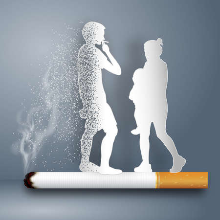 Cigarettes destroy the family as healthy, no smoking day world , craft style and paper art concept. vector illustration