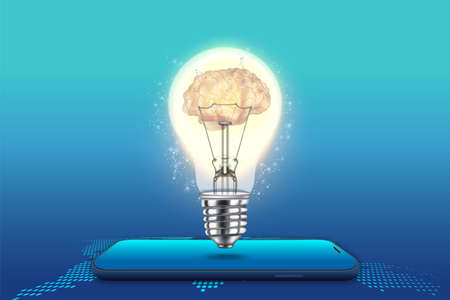 smartphone with brain bulb light isolated on blue background as idea, new technology and communication concept. vector illustration.