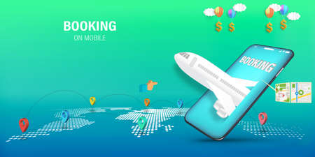 Travel Mobile Application , Travel Online booking on Website or smartphone as trip , transportation and Journey concept, Vector illustration.