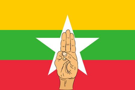 Three finger salute on Myanmar flag background. vector illustration.