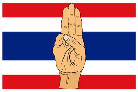Three finger salute on Thailand flag background. vector illustration. Çizim
