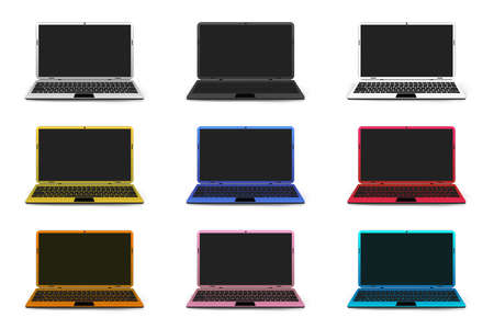 Realistic mock up collection design of colorful laptop or notebook computer isolated on white background. vector illustration.