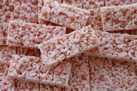 crispy: Homemade pink marshmellow rice crispy slice