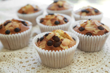 chocolate chip: Homemade apricot chocolate chip almond slice muffins Stock Photo