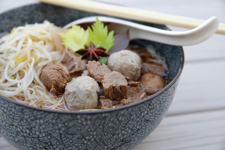 mung bean sprout: Homemade beef soup noodle with beef balls Stock Photo