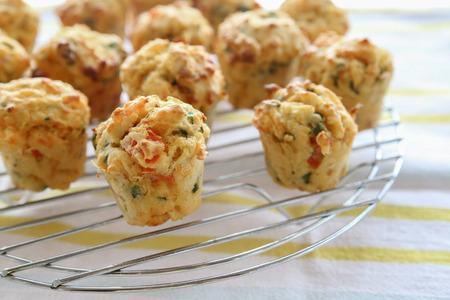 Homemade mini egg muffins Mini quiche, selective focus