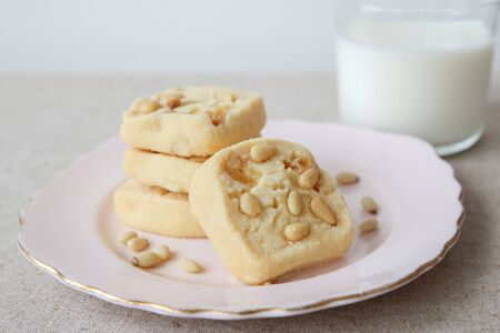 pine nut: Homemade ginger and pine nut cookies, selective focus Stock Photo