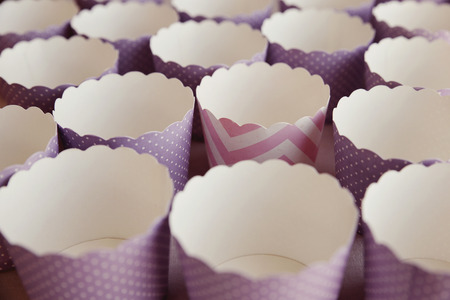 oveja negra: Empty paper cupcake cases, black sheep concept, selective focus, vintage tone