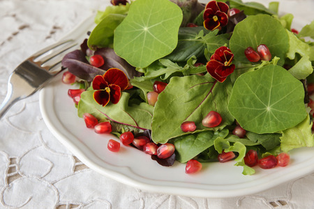 Fresh mixed green salad with pomegranate seeds, selective focus, toning