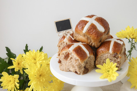 easter cross: Easter Hot cross buns, selective focus