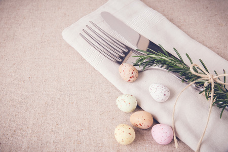 Easter table setting copyspace background, selective focus,