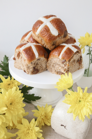 christian festival: Easter Hot cross buns, selective focus