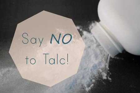 say:  Say No to Talc word on blurry talcum powder background
