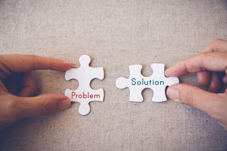 complete solution: puzzle, jigsaw, business, concept, problem, solution, words, pieces, background, solution, hands, white, global, idea, connection, together, match, part, work, people, challenge, cooperation, fit, join,  two, pattern, shape, complete, object, solve, symbo