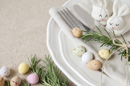 Table Setting Background easter table setting copyspace background, selective focus, stock