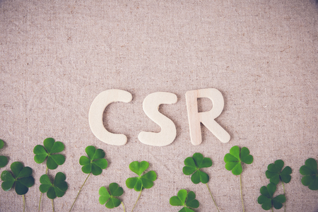 csr: CSR with green leaf, copy space background,toning