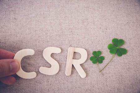 CSR with green leaf, copy space background,toning