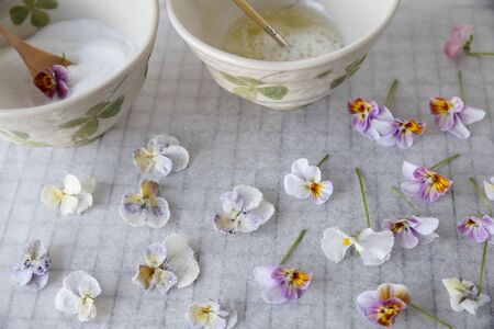crystallized: Crystallized Candied Edible Flowers with egg whites and sugar