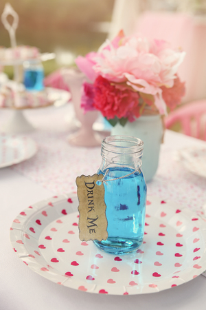 drink me: Blue drink in bottle, Alice in wonderland tea party theme,toning