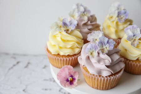 sugared: Purple and yellow cupcakes with sugared edible flowers copy space background Stock Photo