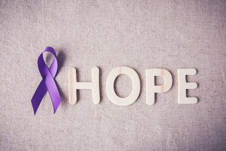 Purple ribbon with HOPE wooden letter, toning, Alzheimers disease, Pancreatic cancer, Epilepsy awareness, Hodgkins Lymphoma awareness