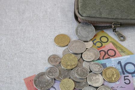 australian money: Australian money, AUD with small money pouch,selective focus