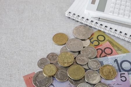 australian money: Australian money, AUD with calculator, notebook selective focus copy space background