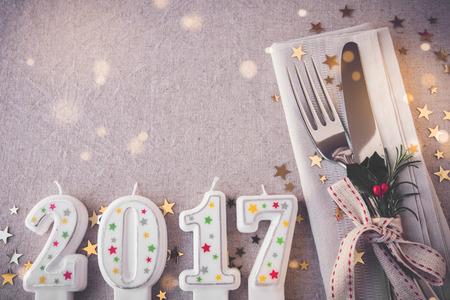 nowy rok: Szczęśliwego Nowego Roku 2017 miejsce ustawienia tabeli, wakacje kopiowania bajki światła tonowania tła