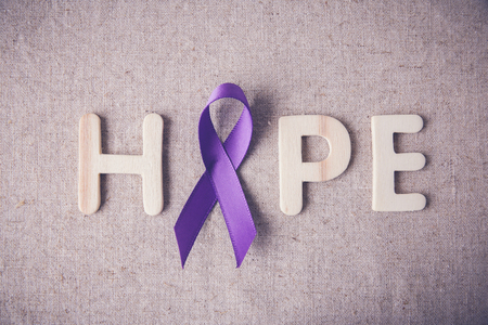crohn's disease: Purple ribbon with HOPE wooden letter, toning, Alzheimers disease, Pancreatic cancer, Epilepsy awareness, Hodgkins Lymphoma awareness
