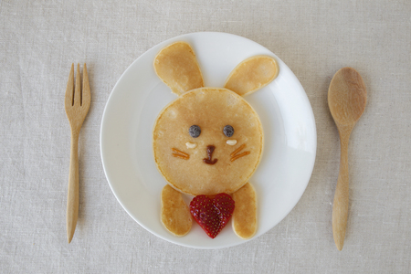 Bunny pancake breakfast, fun food art for kids 版權商用圖片
