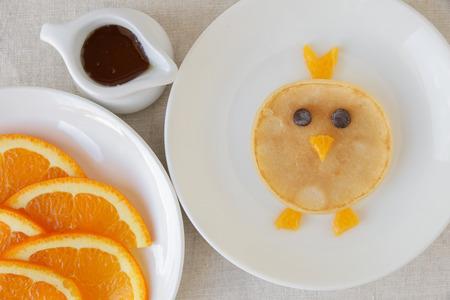 Chick pancake breakfast, fun food art for kids