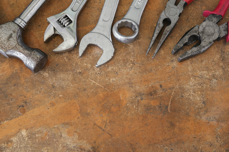 worktop: different tools on rustic wooden worktop, copy space background