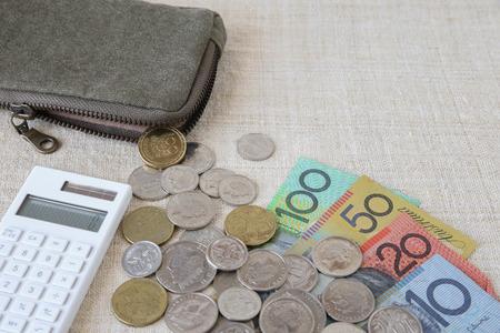 australian money: Australian money, AUD with calculator and small money pouch