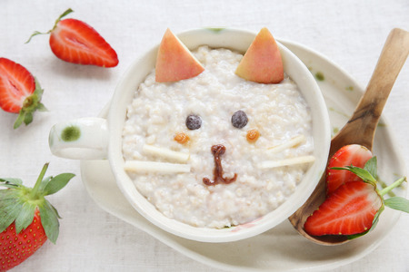 Cat kitten porridge breakfast , food art for kids