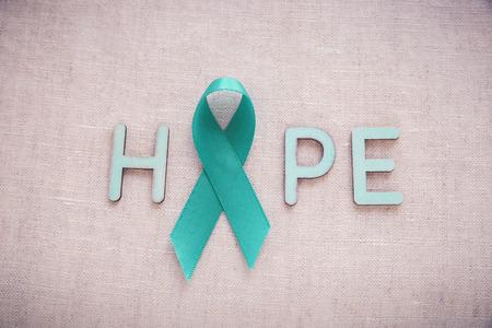 Teal Ribbons with HOPE word, Ovarian Cancer, cervical Cancer, Kidney Cancer awareness